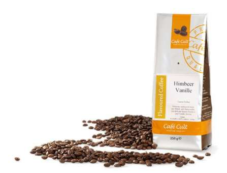 Kaffee Himbeer Vanille in 250g Tüte, ganze Bohne